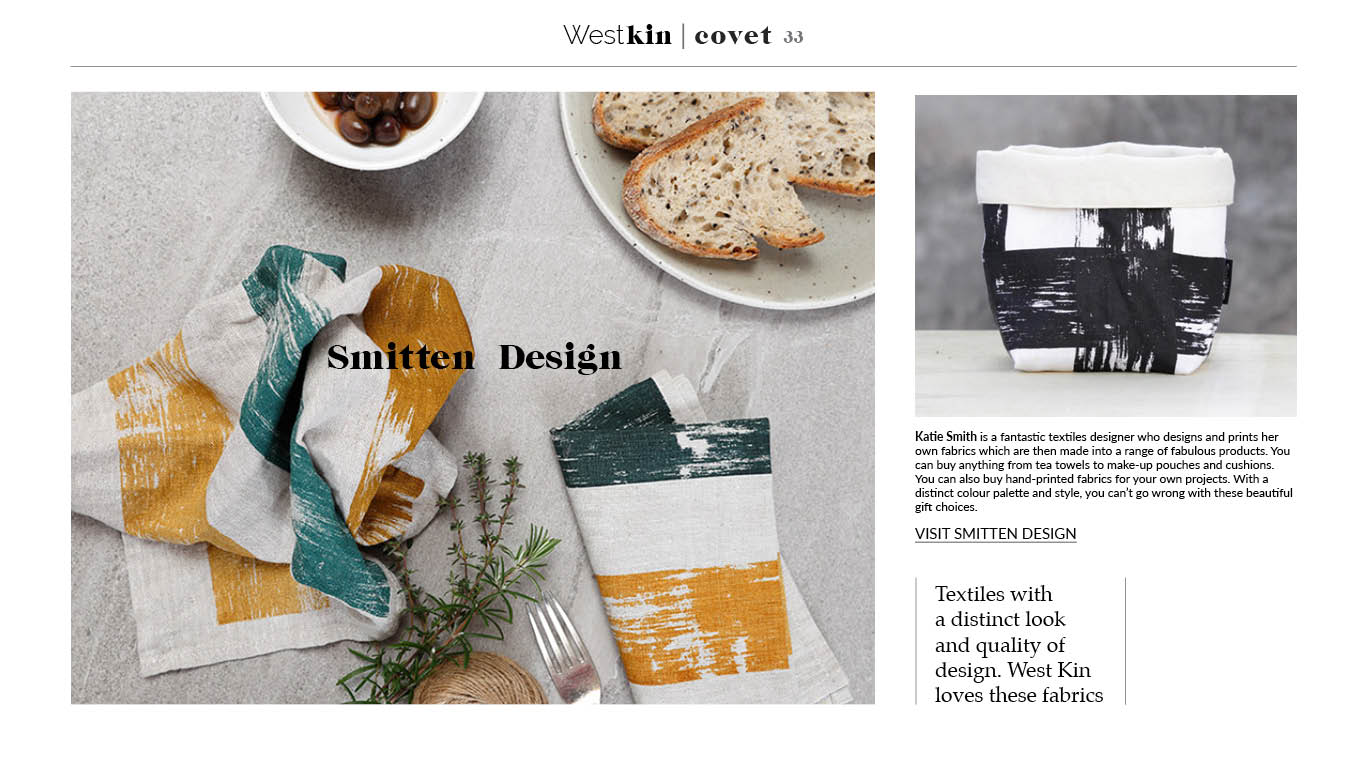 A local xmas gift guide featuring Smitten textile products by West Kin magazine