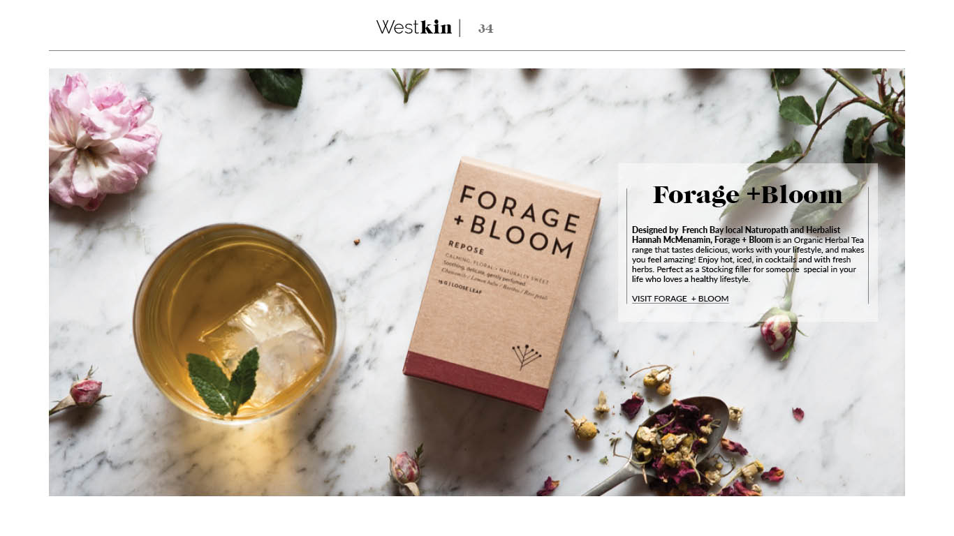 A local xmas gift guide featuring Forage and Bloom teas by West Kin magazine
