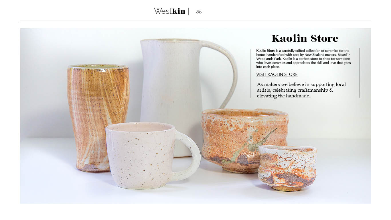 A local xmas gift guide featuring Kaolin pottery by West Kin magazine