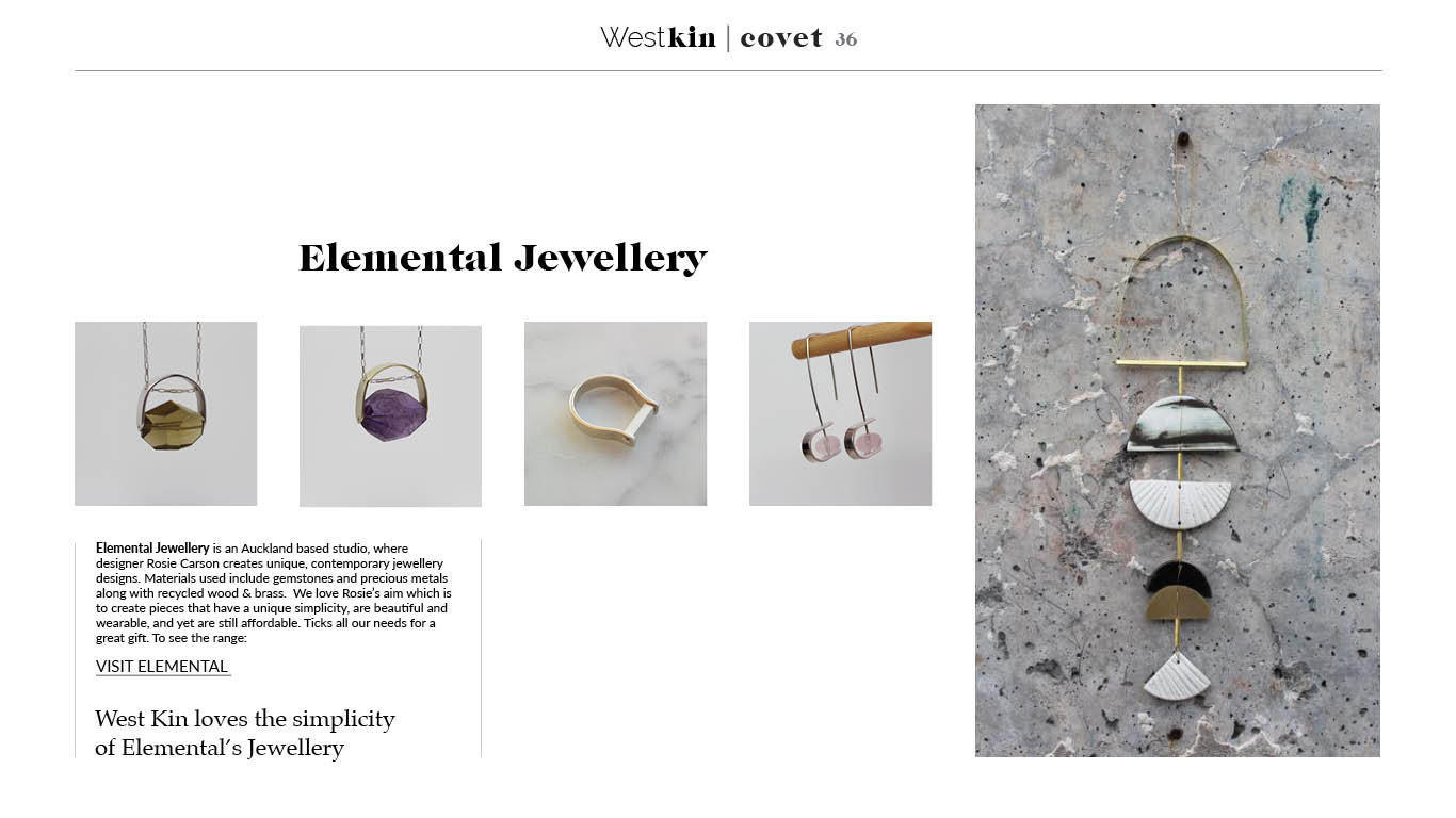 A local xmas gift guide featuring Elemental Jewellery by West Kin magazine