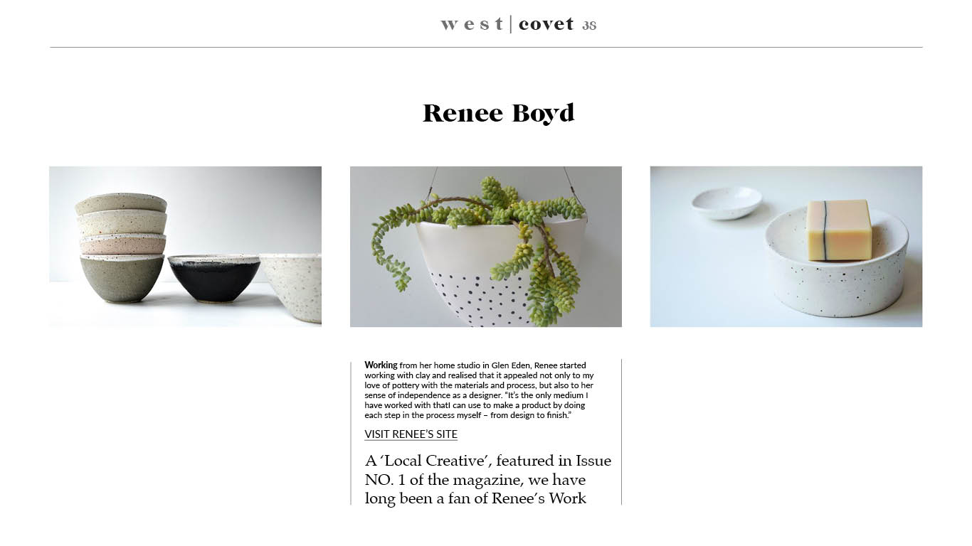 A local xmas gift guide featuring Renee Boyd ceramics by West Kin magazine